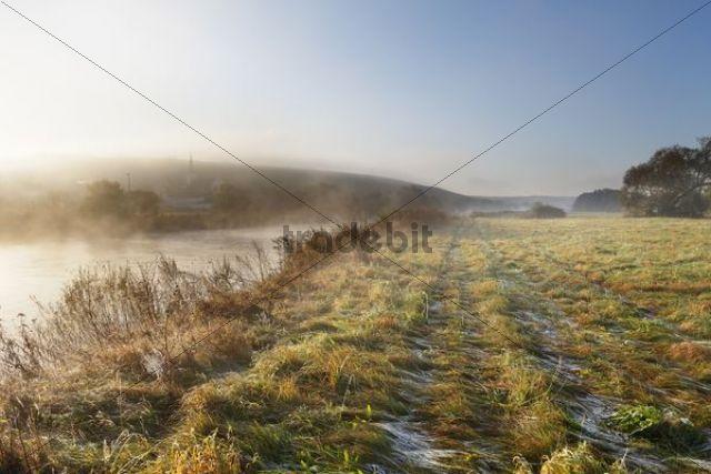 Sunrise with morning fog, Main River, Stammheim am Main, Lower Franconia, Franconia, Bavaria, Germany, Europe