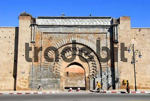 Old oriental city gate Bab Agnaou Marrakech Morocco