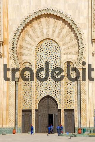 Huge oriental portal of mosque Hassan II Casablanca Morocco