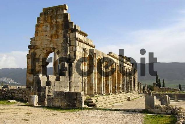 Early Christian basilica archaeological excavation of antique Roman city Volubilis Morocco