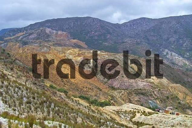 slag heaps of copper mines in Queenstown Tasmania Australia
