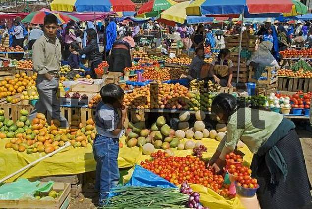 one of the most beautiful marketes in the indian village San Juan Chamula sales of fruits Chiapas Mexico