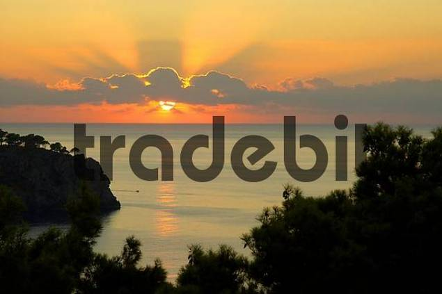 sunset over the sea from , Llucalcari, Majorca, Spain