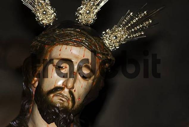 Bleeding jesus with crown of thorns, Granada, Andalusia, Spain