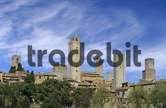 medieval towers built by the nobility of San GimignanoTuscany Italy