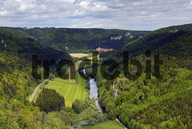 Danube valley - Overview, Swabian Alb, Baden-Wuerttemberg, Germany, Europe.