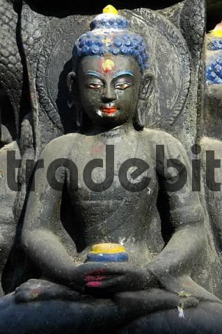 Figure of Buddha in lotusseat Kathesimbhu Stupa Kathmandu Nepal