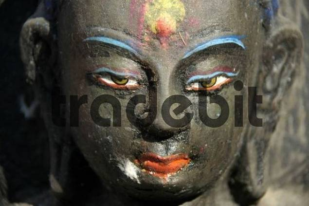Coloured face of a Buddha figure Kathesimbhu Stupa Kathmandu Nepal