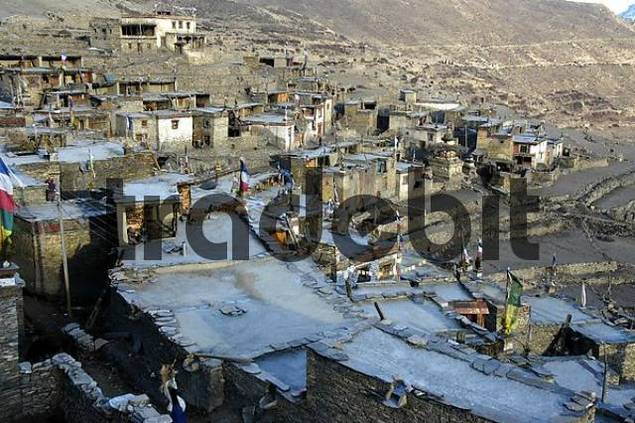 Nested Houses made of stones with flat roofs Nar Nar-Phu Annapurna Region Nepal
