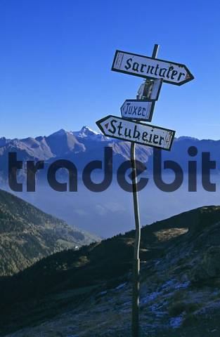 old signs on the Penserjoch South Tirol Italy