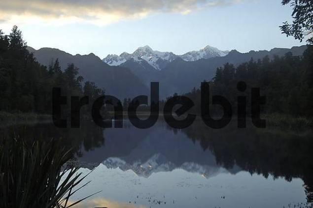 Lake Matheson reflecting Mount Cook near Fox Village New Zealand