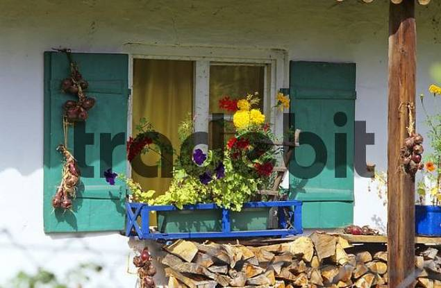 window of a farmhouse in Ascholding Bavaria Germany