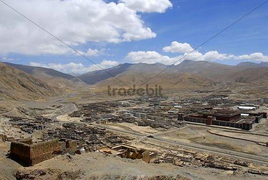 Tibetan Buddhism view over the city traditional and modern houses Sakya Monastery Tibet China