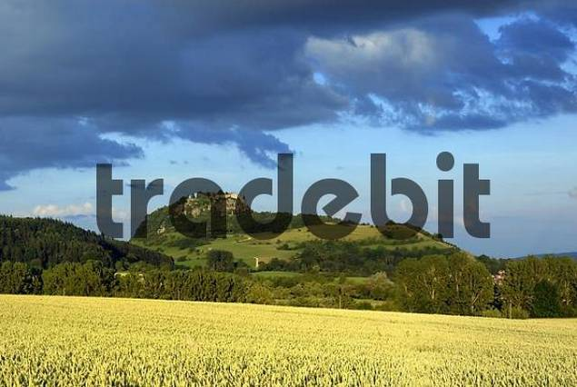 The Hohentwiel and the hegau-landscape in the evening light - Baden Wuerttemberg, Germany, Europe.