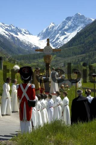 Corpus Christi procession open-air mass Wiler Valais Switzerland