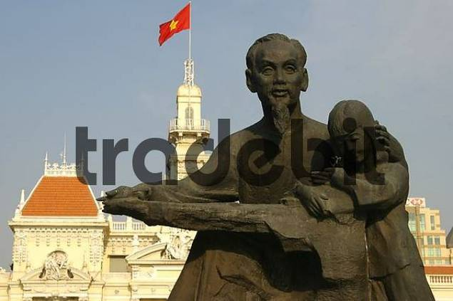 Ho Chi Minh monument in front of the townhall of Ho Chi Minh City Vietnam