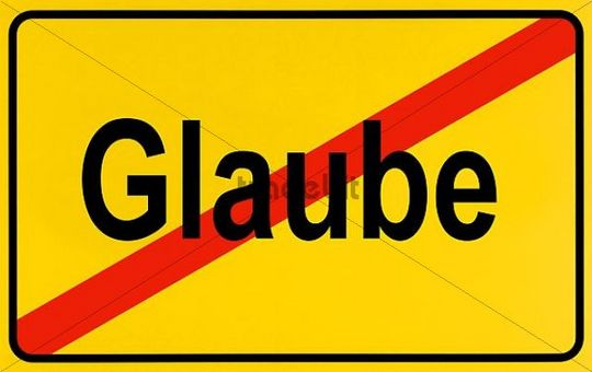 German city limits sign symbolising end of belief