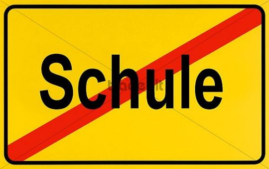 German city limits sign symbolising end of school