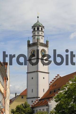 old part of town and the Blaserturm, Ravensburg, Baden Wuerttemberg, Germany, Europe.
