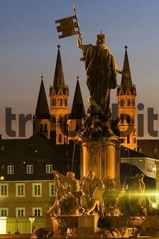 Würzburg Franconia fountain cathedral Bavaria Germany