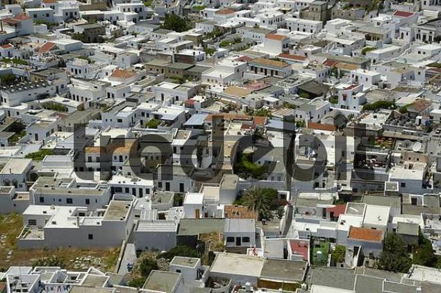 View on the roofs of Lindos island of Rhodes Greece