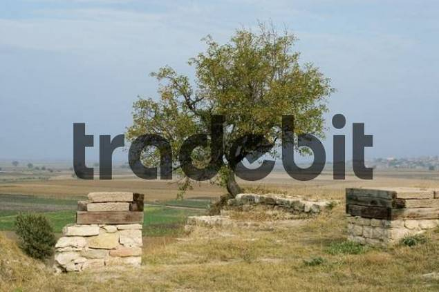 Turkey Troy excavation Megaro house above the accumulation plain which war covered with sea water during the trojan war c. 1250 BC