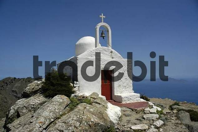 White painted chapel on top of montain Dikeos Zia Island of Kos Greece