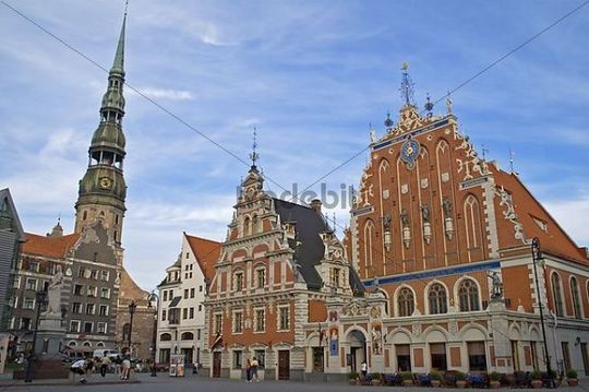 Riga is proud to his Schwarzhaeupterhausand ttogether with the Petri church, capital Riga, Latvia, Baltic States