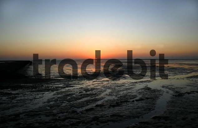Sunset over the mudflat of the North Sea, East Frisia, Lower Saxony, Germany