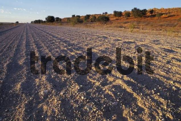 bad road gravel road washboard road in Namibia