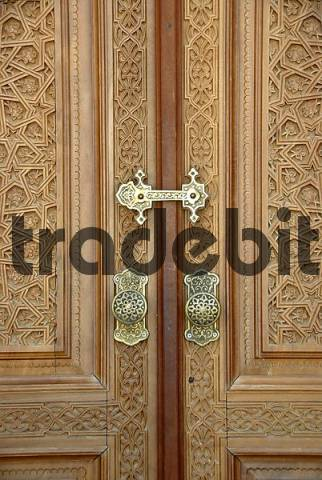Fine carved wooden entrance door with brass lock museum of Madrasah Barak Chan Madrasah Barak Chan Tashkent Uzbekistan