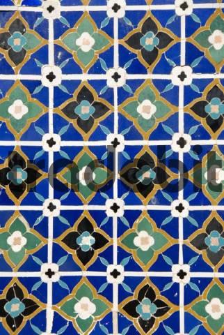 Geometric pattern of colourful tiles Necropolis Shah-i-Zinda Samarkand Uzbekistan