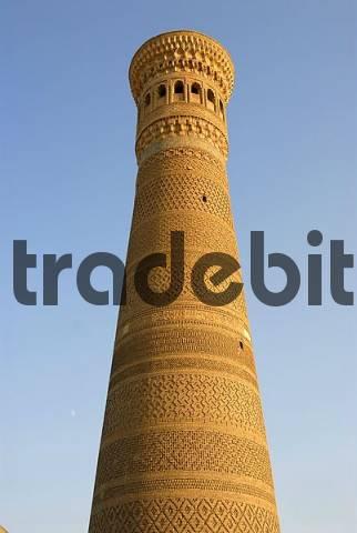 Old high brick tower Minaret Kalon Bukhara Uzbekistan