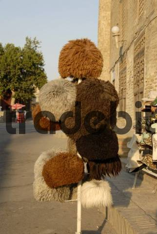 Big hats made of sheep wool from Karakalpakstan displayed for sale in Bukhara Uzbekistan