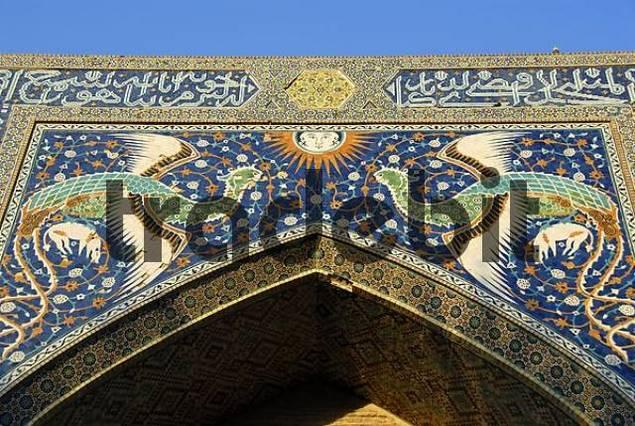 Decorative phoenix on the portal of Nadir Divan-Begi Madrasah Bukhara Uzbekistan