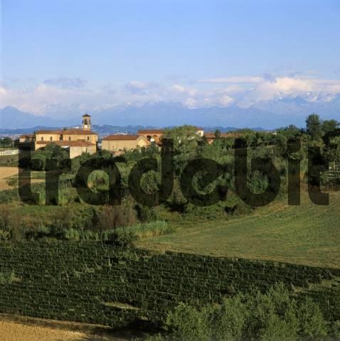near S. Desiderio north of Portocomaro Province Asti Piemonte Piedmont Italy over the landscape of Monferrato to the Alps