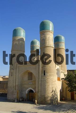 Four minarets with blue cupolas Char Minar gatehouse Bukhara Uzbekistan
