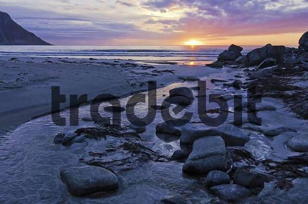 Sunset, coast area, Austvagoy, Lofoten, Norway, Scandinavia, Europe