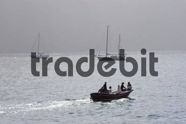 Vueltas fishing boat with tourits La Gomera Canary Islands