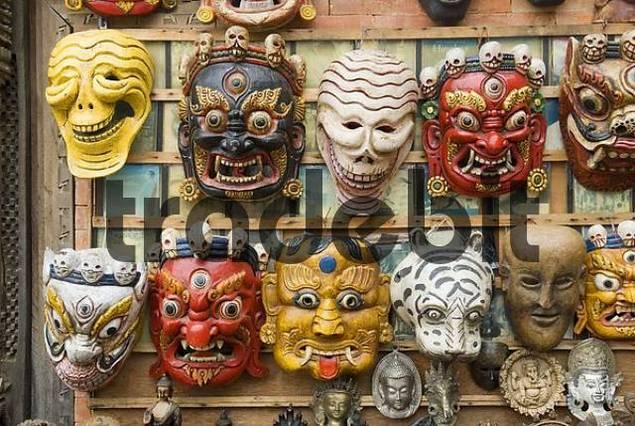 nepalese dance mask, Swayambhunat Temple, Kathmandu, Nepal