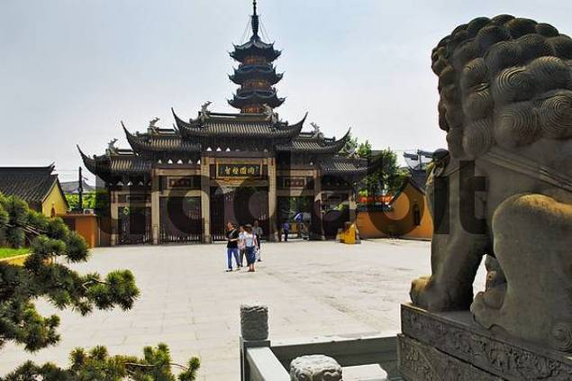 Tower and entrance of Longhua Temple, Shanghai, China