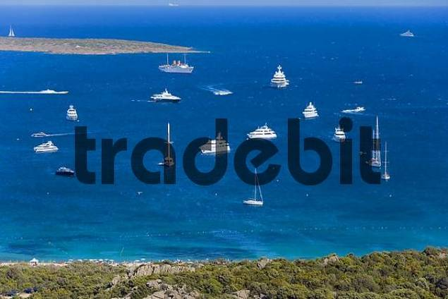 sailing yachts and ocean-going yachts, Costa Smeralda Coast, Sardinia, Italy