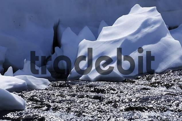 Snow at a mountain stream, Jotunheimen National Park, Norway, Scandinavia