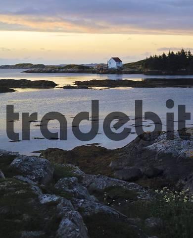 Framehouse at the coast, Lofoten, Norway, Scandinavia