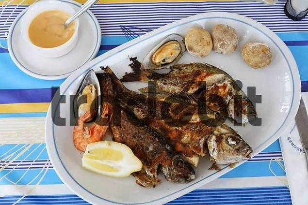 mixed grilled fish, parillada de pescado, Gran Canaria, Spain