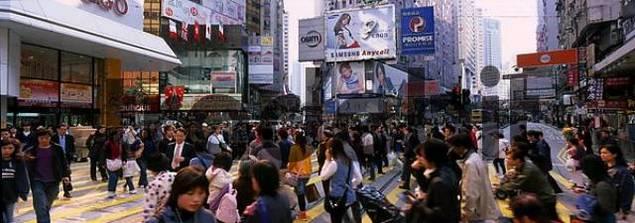 crowded street, rush hour, Hong Kong, China