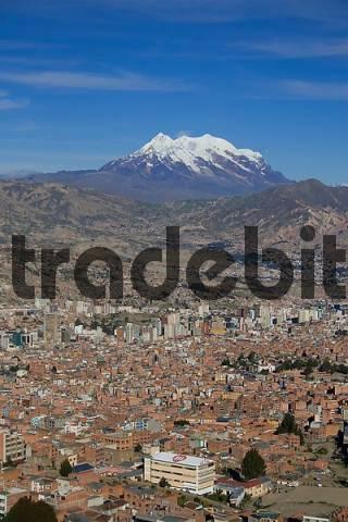 La Paz and Nevado Illimani 6439m, Bolivia