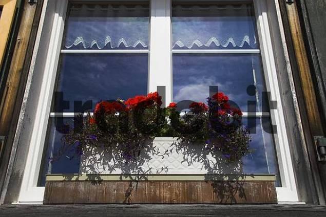 Window of a mountain hotel in the Saentisgebiet/Alpstein/canton Appenzell/Switzerla