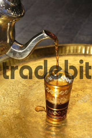 Moroccan tea pot and tea glass, Callosa, Altea, Costa Blanca, Spain, food, nationaltypically, Speciality