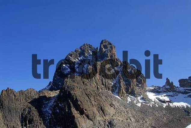 Summit Batian 5199 m and Nelion 5188 m Mount Kenya National Park Kenya